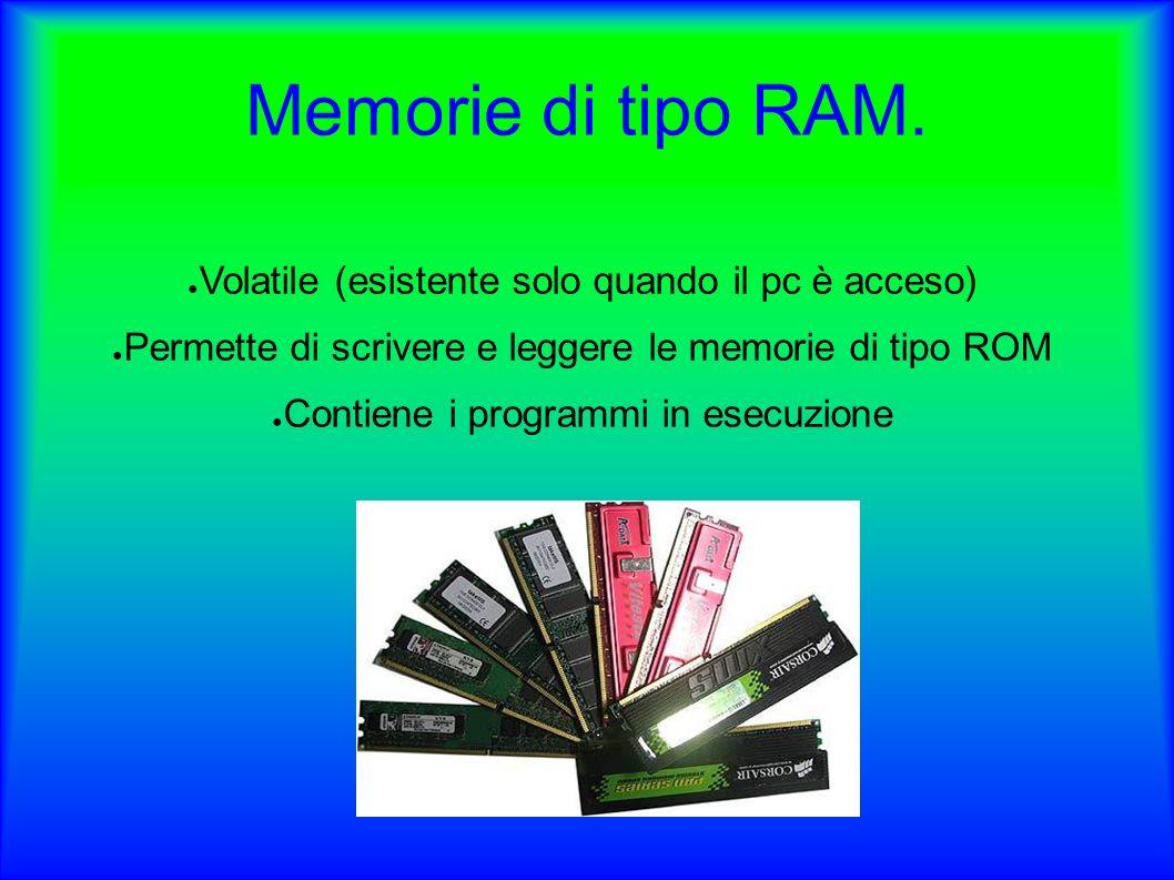Memorie di tipo RAM. Volatile (esistente solo quando il pc è acceso)