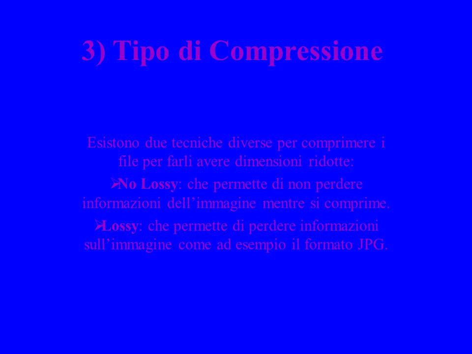 3) Tipo di Compressione Esistono due tecniche diverse per comprimere i file per farli avere dimensioni ridotte: