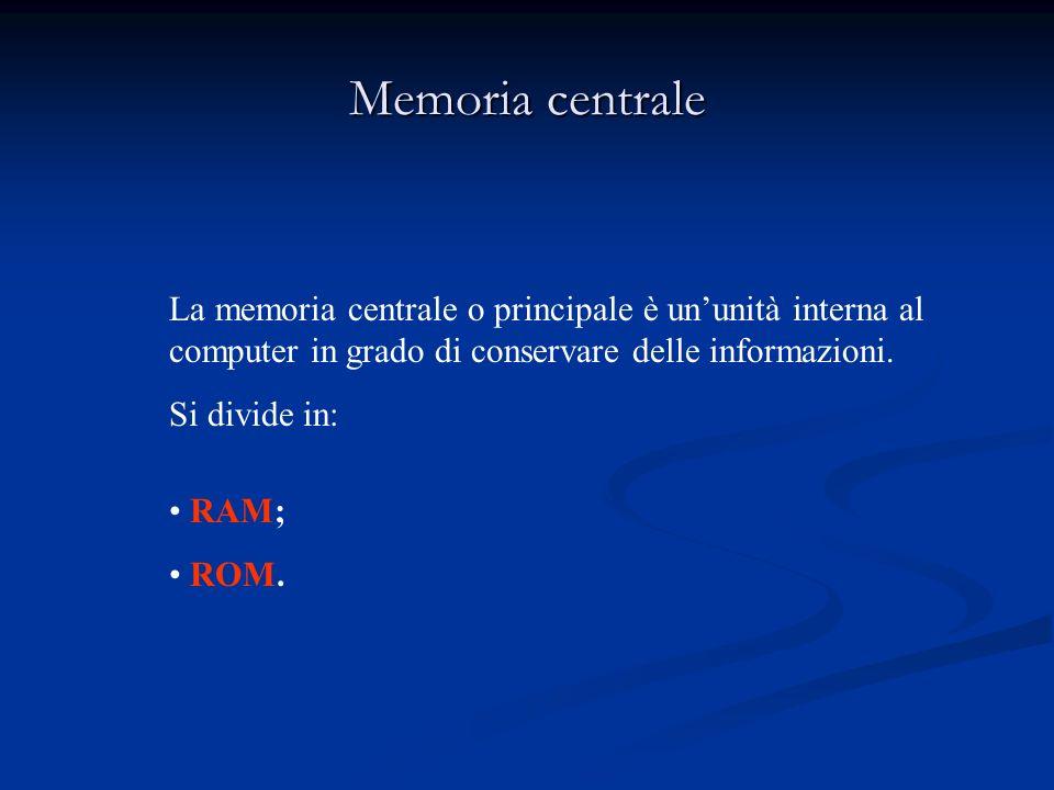 Memoria centraleLa memoria centrale o principale è un'unità interna al computer in grado di conservare delle informazioni.