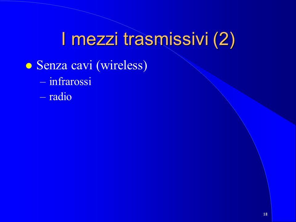 I mezzi trasmissivi (2) Senza cavi (wireless) infrarossi radio