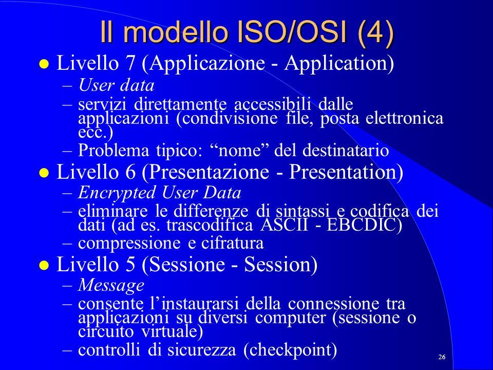 Il modello ISO/OSI (4) Livello 7 (Applicazione - Application)