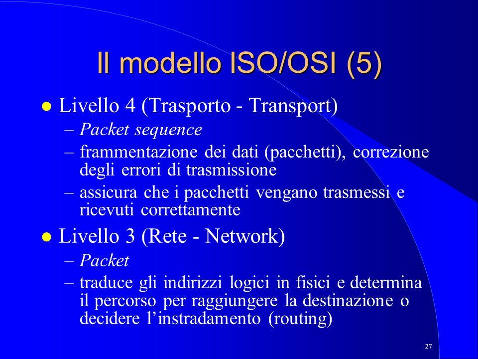 Il modello ISO/OSI (5) Livello 4 (Trasporto - Transport)