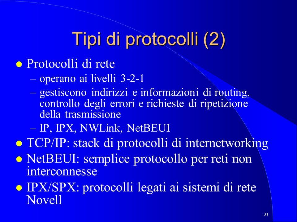 Tipi di protocolli (2) Protocolli di rete