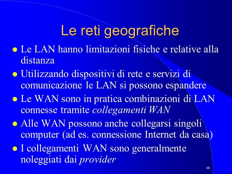 Le reti geografiche Le LAN hanno limitazioni fisiche e relative alla distanza.
