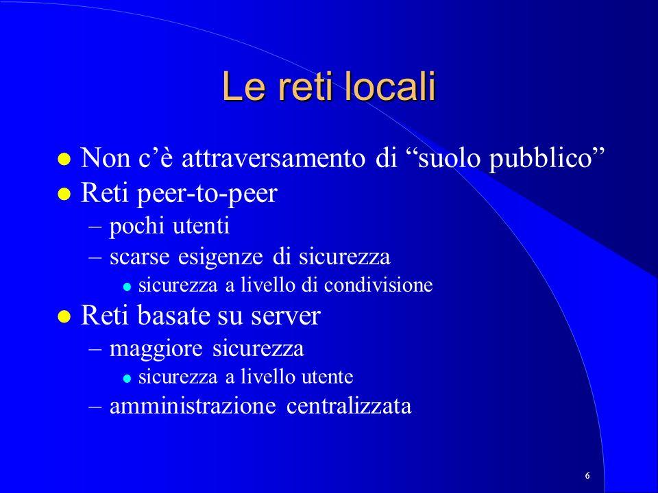 Le reti locali Non c'è attraversamento di suolo pubblico