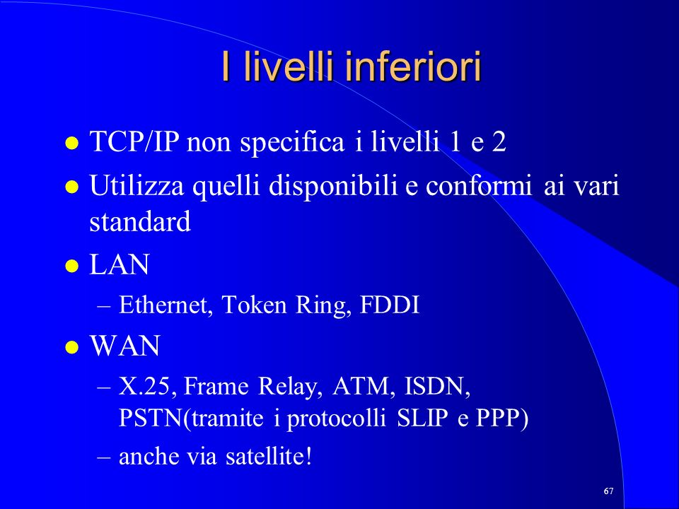 I livelli inferiori TCP/IP non specifica i livelli 1 e 2