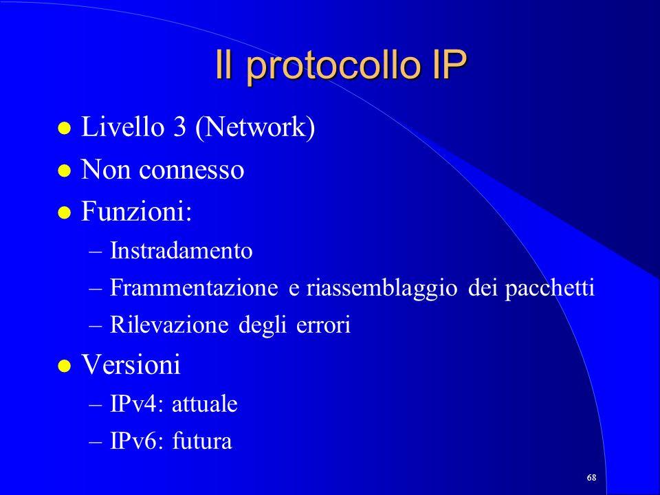 Il protocollo IP Livello 3 (Network) Non connesso Funzioni: Versioni