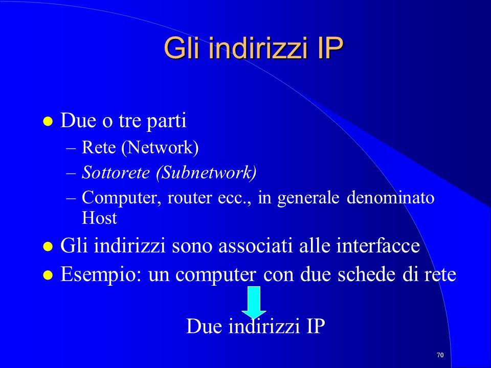 Gli indirizzi IP Due o tre parti