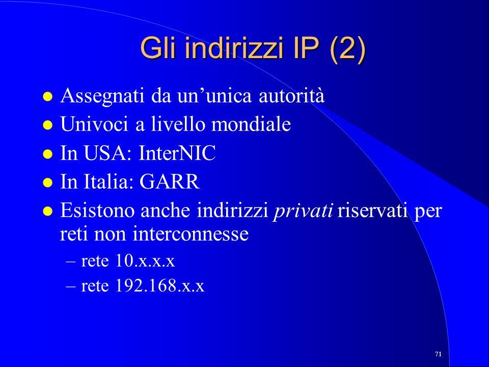 Gli indirizzi IP (2) Assegnati da un'unica autorità