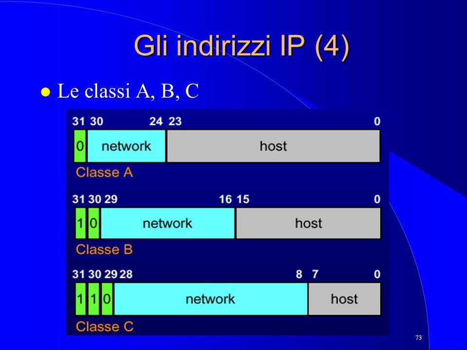 Gli indirizzi IP (4) Le classi A, B, C