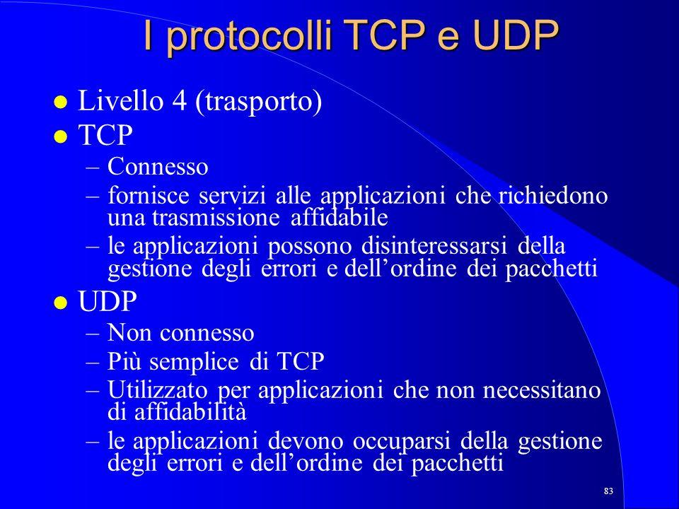I protocolli TCP e UDP Livello 4 (trasporto) TCP UDP Connesso
