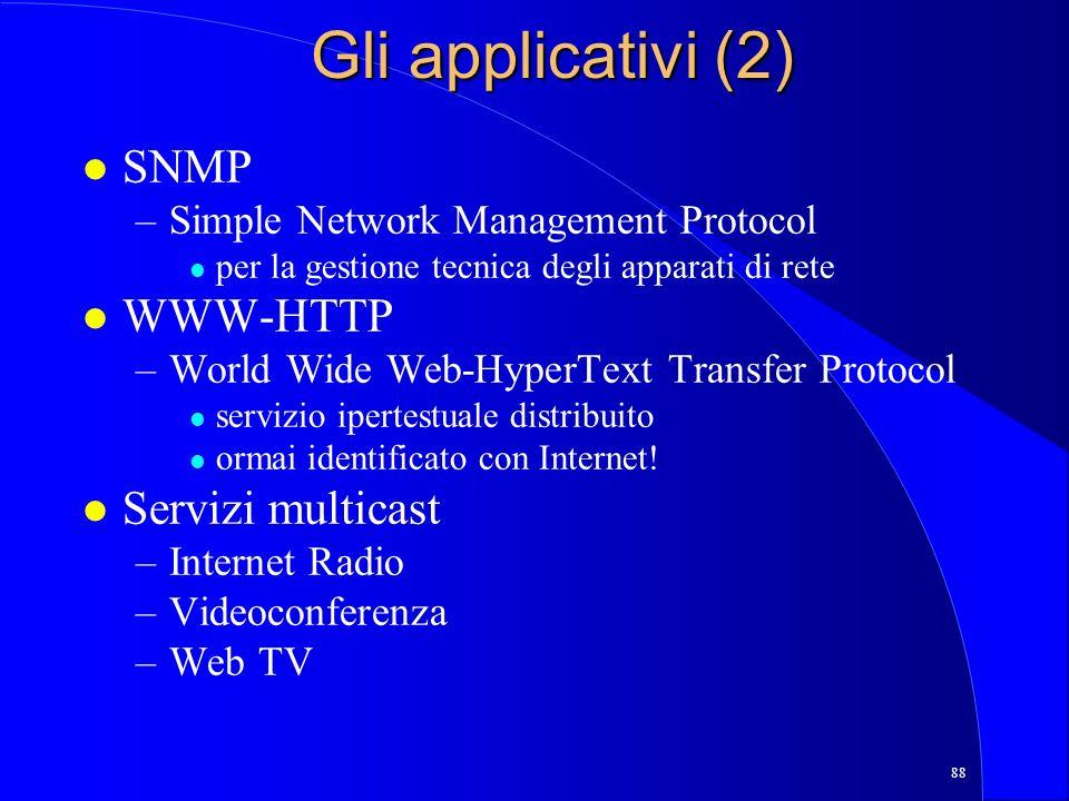 Gli applicativi (2) SNMP WWW-HTTP Servizi multicast