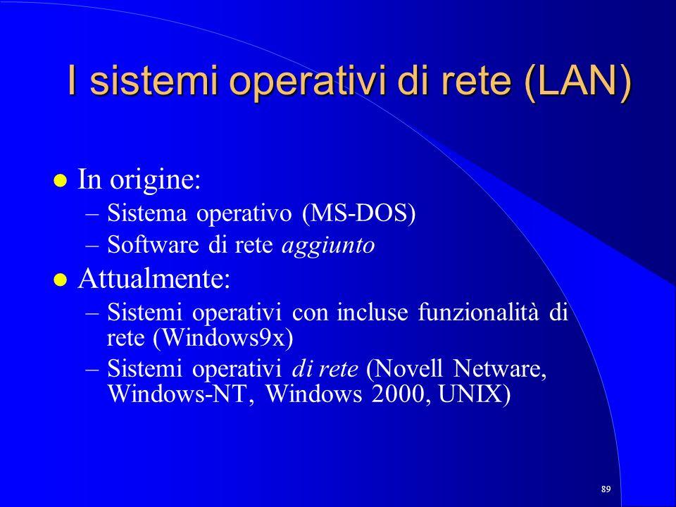 I sistemi operativi di rete (LAN)