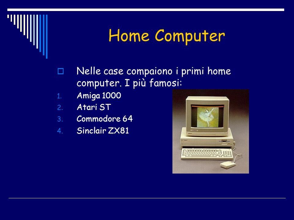 Home Computer Nelle case compaiono i primi home computer. I più famosi: Amiga 1000. Atari ST. Commodore 64.