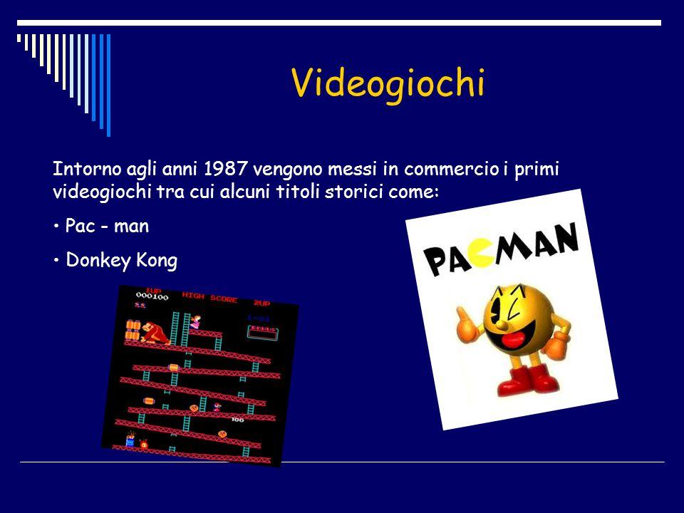 Videogiochi Intorno agli anni 1987 vengono messi in commercio i primi videogiochi tra cui alcuni titoli storici come: