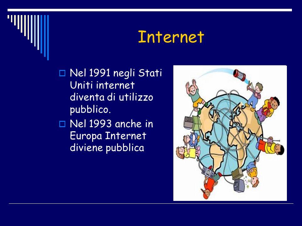Internet Nel 1991 negli Stati Uniti internet diventa di utilizzo pubblico.