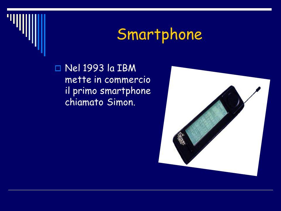 Smartphone Nel 1993 la IBM mette in commercio il primo smartphone chiamato Simon.