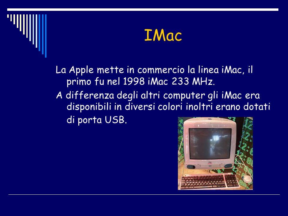 IMac La Apple mette in commercio la linea iMac, il primo fu nel 1998 iMac 233 MHz.