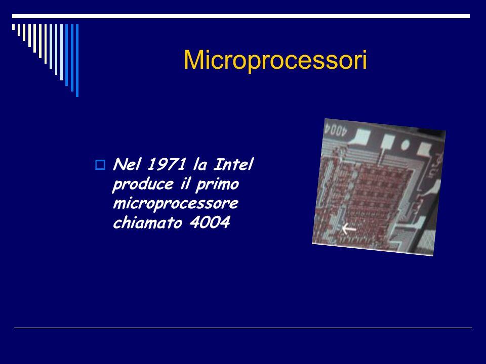 Microprocessori Nel 1971 la Intel produce il primo microprocessore chiamato 4004