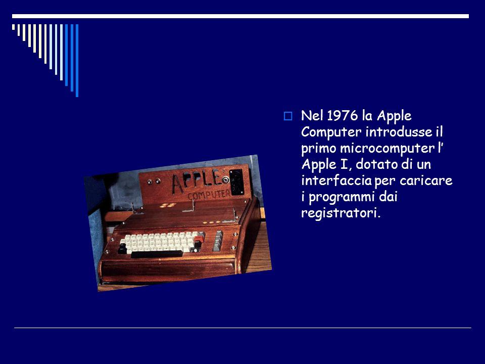 Nel 1976 la Apple Computer introdusse il primo microcomputer l' Apple I, dotato di un interfaccia per caricare i programmi dai registratori.
