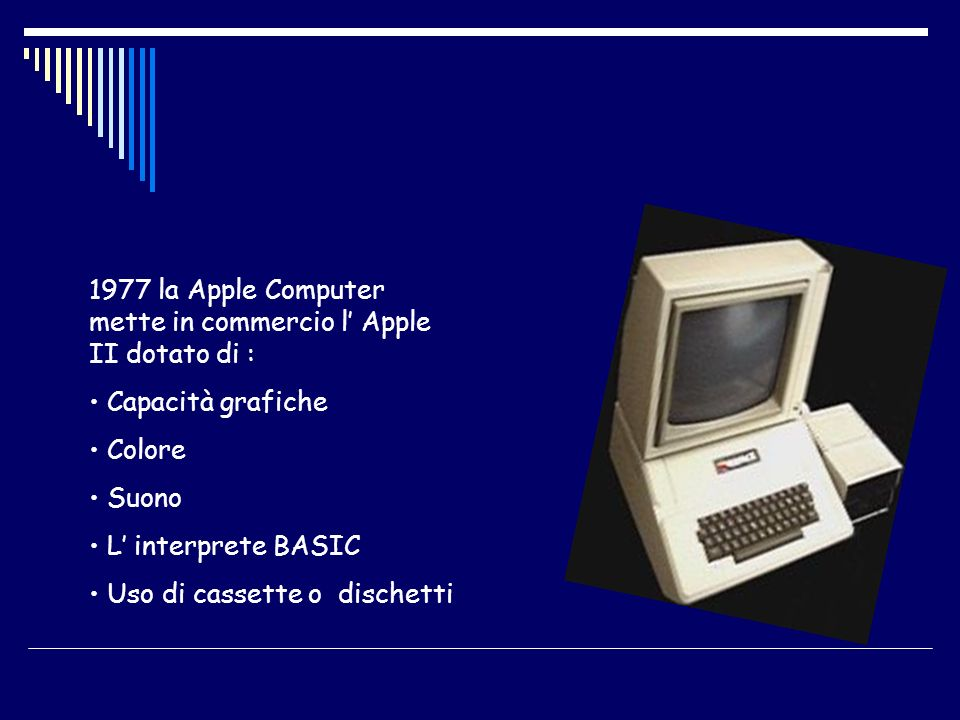 1977 la Apple Computer mette in commercio l' Apple II dotato di :