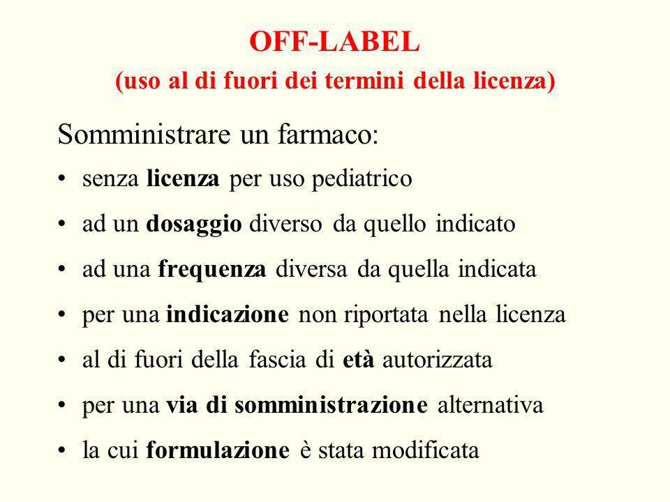 OFF-LABEL (uso al di fuori dei termini della licenza)