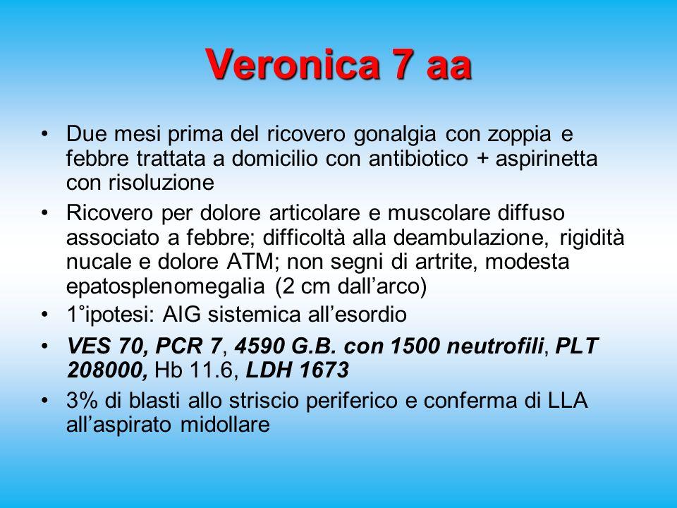 Veronica 7 aa Due mesi prima del ricovero gonalgia con zoppia e febbre trattata a domicilio con antibiotico + aspirinetta con risoluzione.