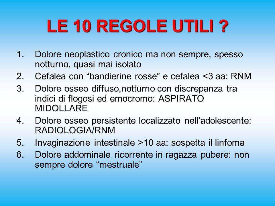 LE 10 REGOLE UTILI Dolore neoplastico cronico ma non sempre, spesso notturno, quasi mai isolato.