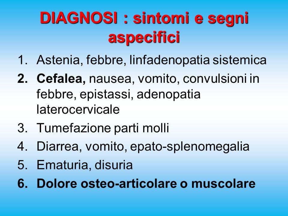 DIAGNOSI : sintomi e segni aspecifici