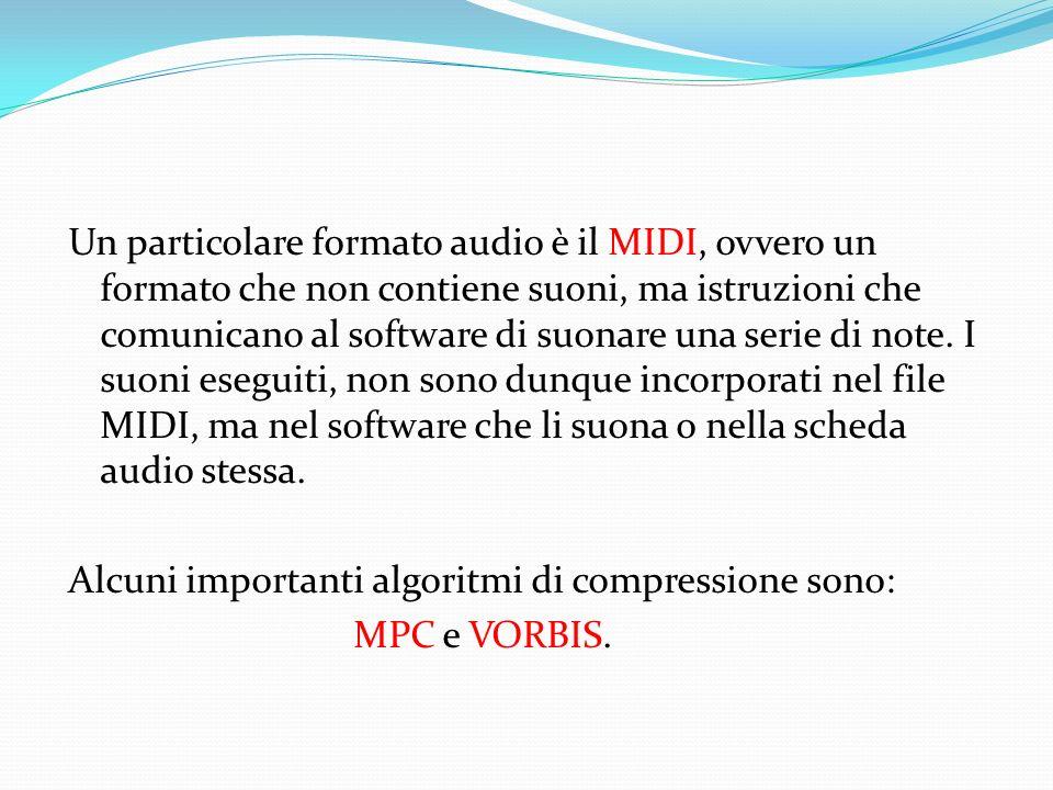 Un particolare formato audio è il MIDI, ovvero un formato che non contiene suoni, ma istruzioni che comunicano al software di suonare una serie di note.