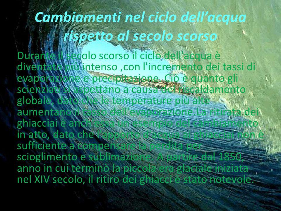 Cambiamenti nel ciclo dell'acqua rispetto al secolo scorso