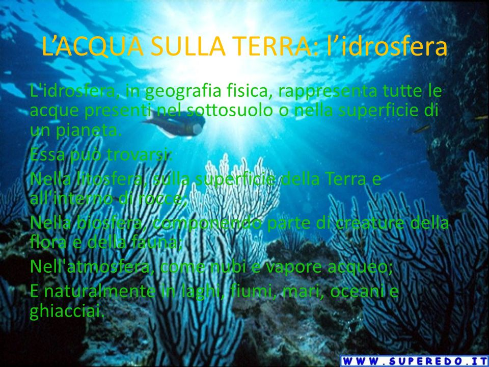 L'ACQUA SULLA TERRA: l'idrosfera