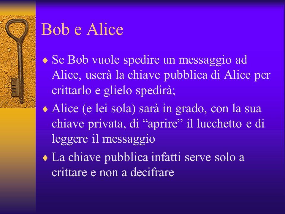 Bob e Alice Se Bob vuole spedire un messaggio ad Alice, userà la chiave pubblica di Alice per crittarlo e glielo spedirà;