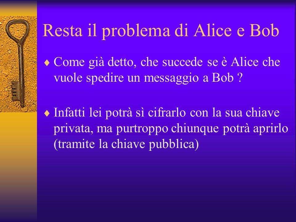 Resta il problema di Alice e Bob