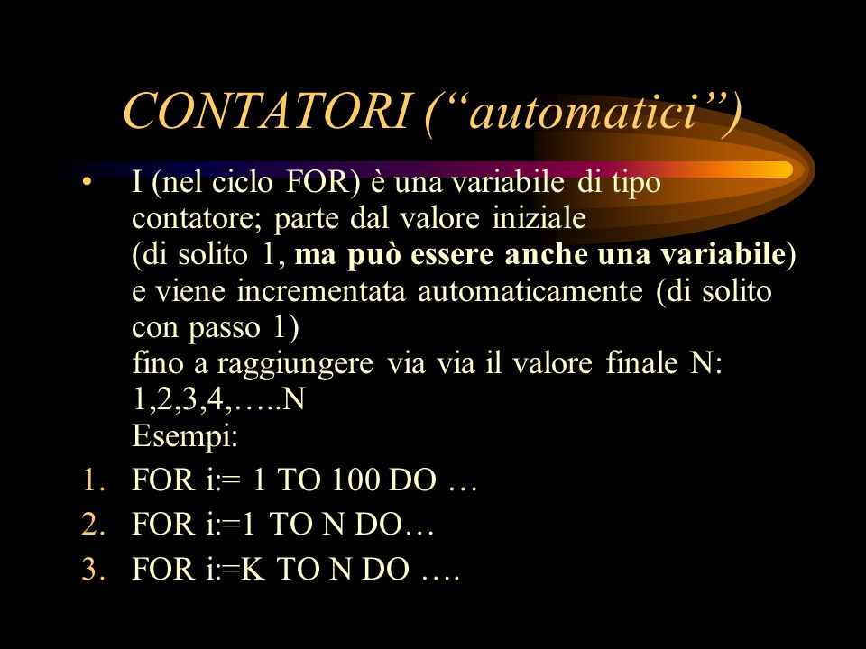 CONTATORI ( automatici )