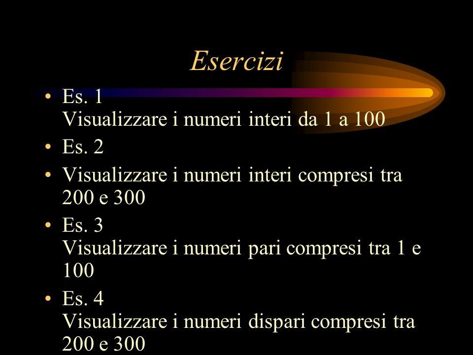 Esercizi Es. 1 Visualizzare i numeri interi da 1 a 100 Es. 2