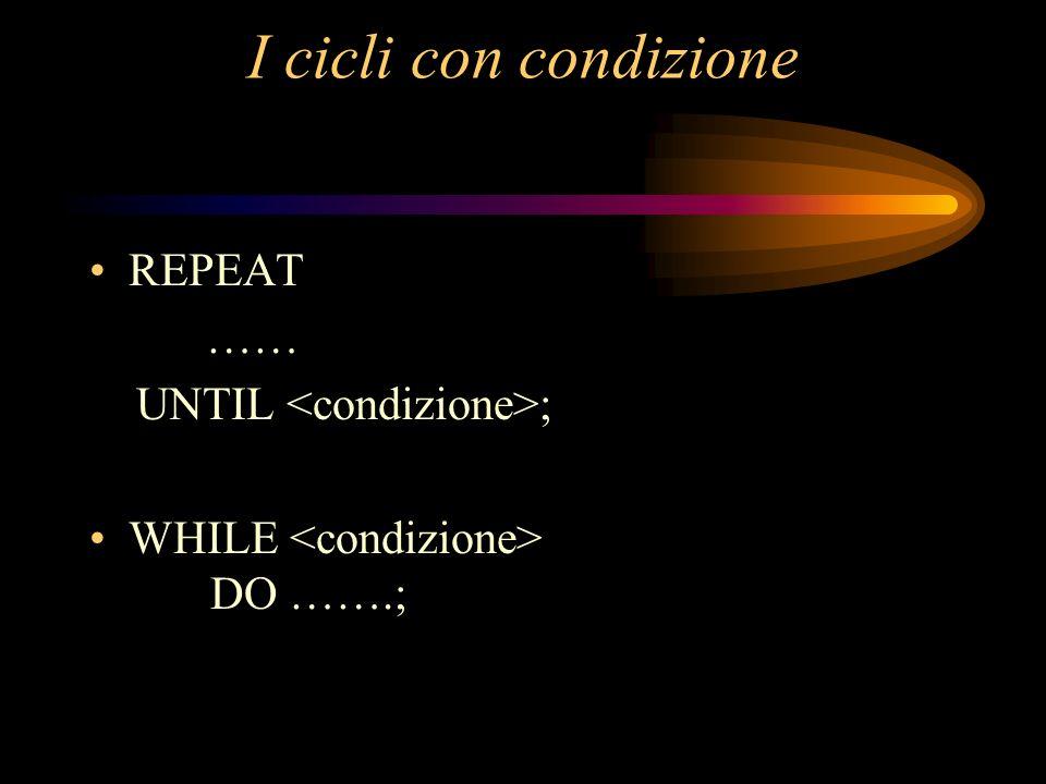 I cicli con condizione REPEAT …… UNTIL <condizione>;
