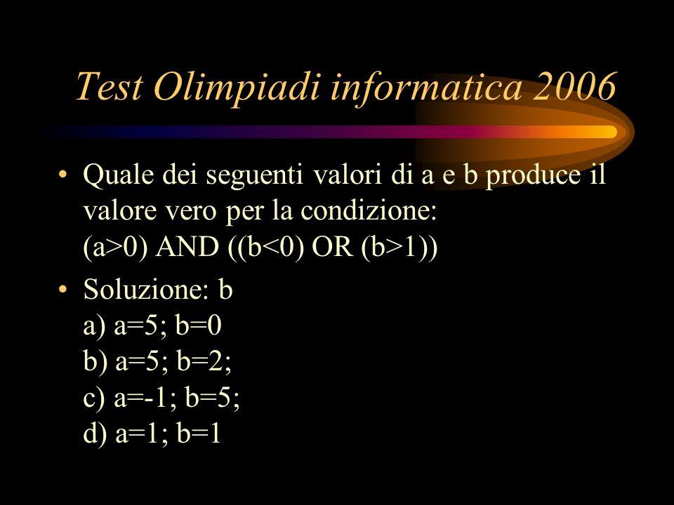 Test Olimpiadi informatica 2006