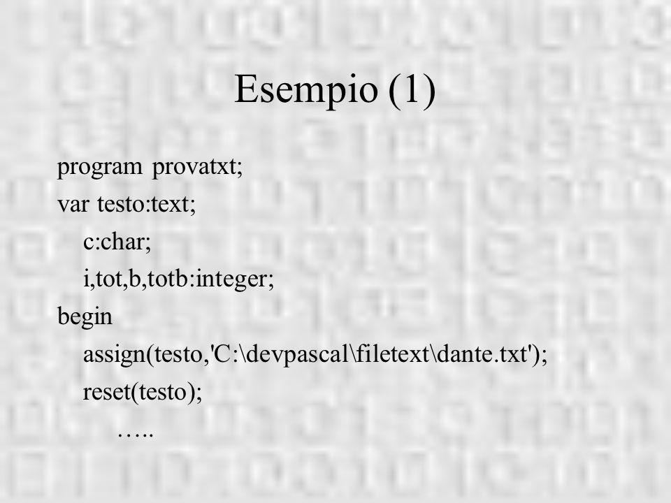 Esempio (1) program provatxt; var testo:text; c:char;