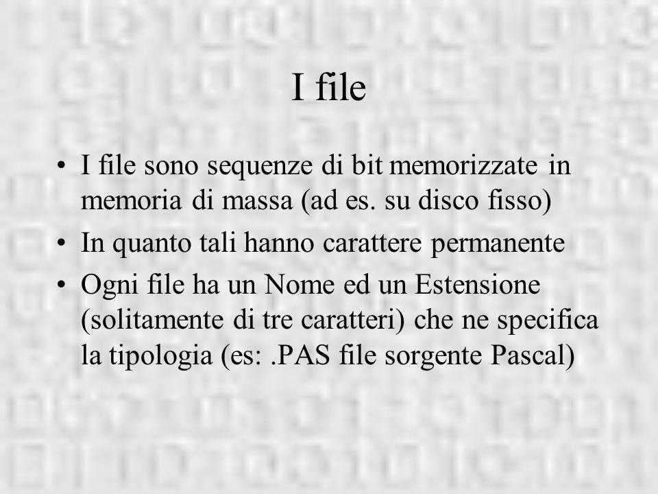 I file I file sono sequenze di bit memorizzate in memoria di massa (ad es. su disco fisso) In quanto tali hanno carattere permanente.