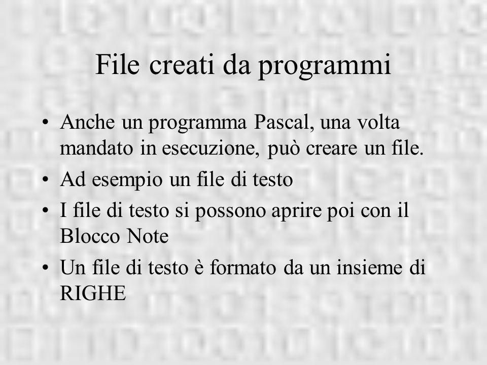 File creati da programmi