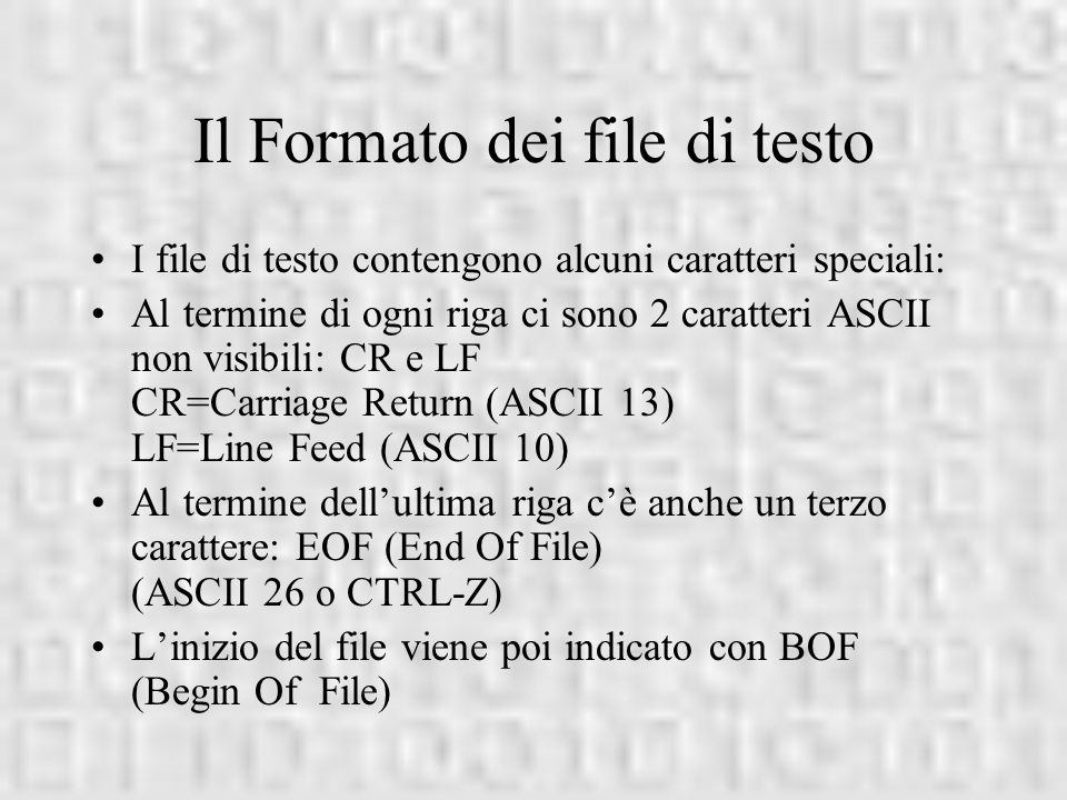 Il Formato dei file di testo