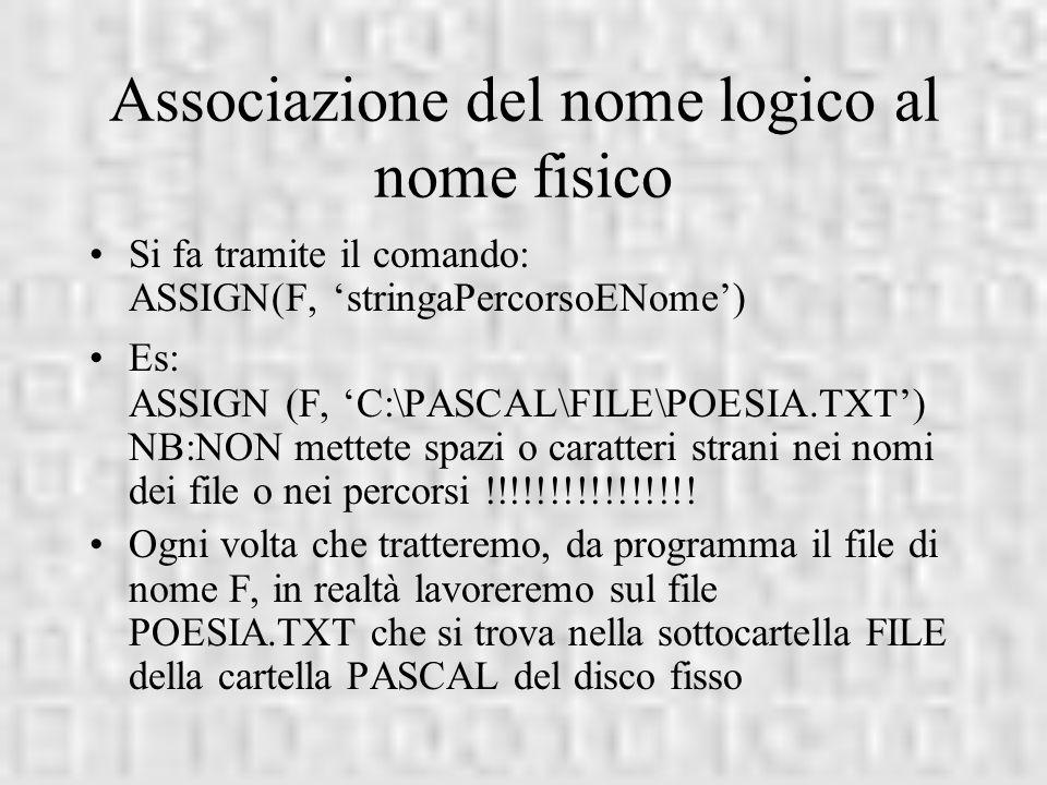 Associazione del nome logico al nome fisico