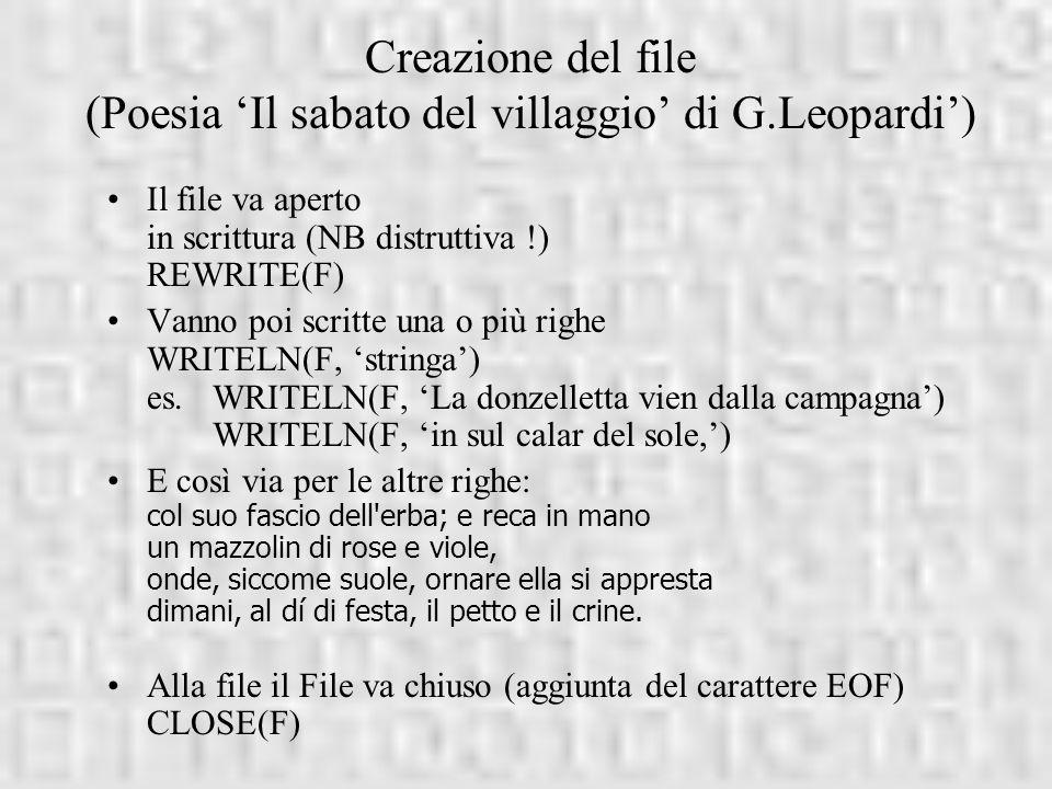 Creazione del file (Poesia 'Il sabato del villaggio' di G.Leopardi')