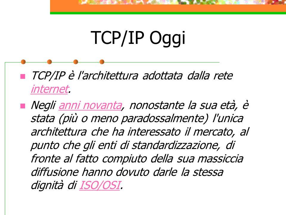 TCP/IP Oggi TCP/IP è l architettura adottata dalla rete internet.
