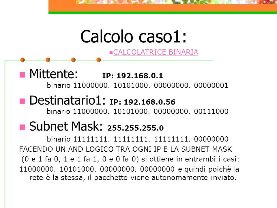 Calcolo caso1: CALCOLATRICE BINARIA. Mittente: IP: 192.168.0.1 binario 11000000. 10101000. 00000000. 00000001.