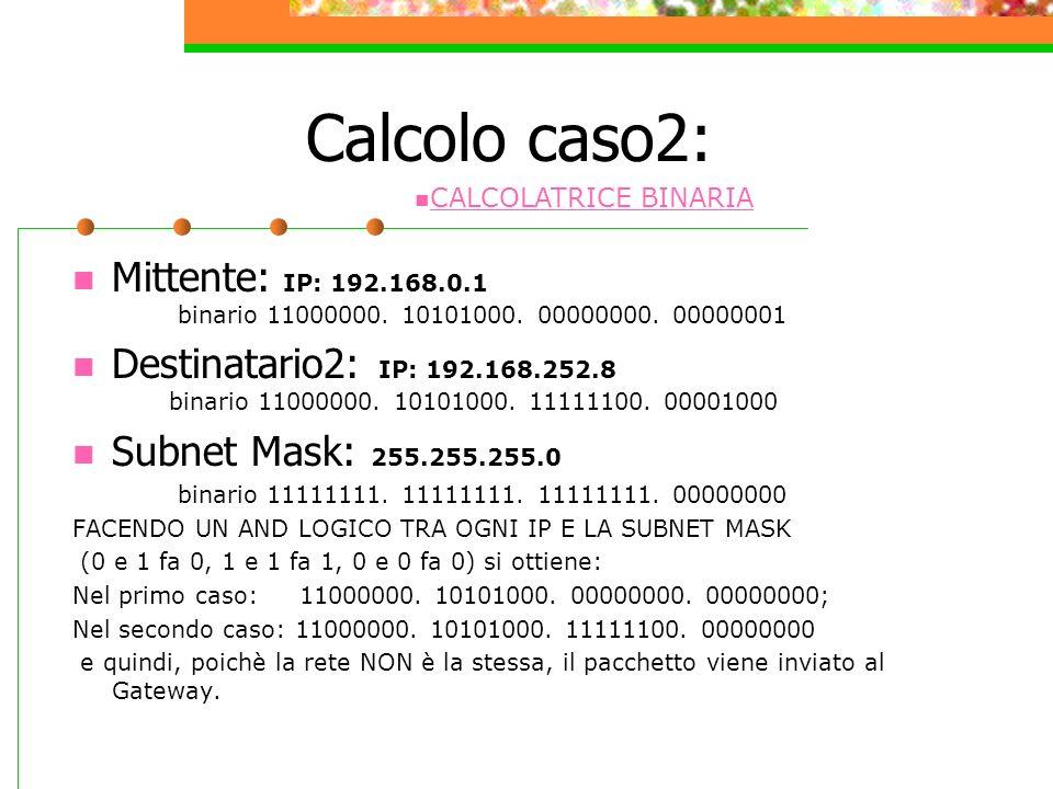 Calcolo caso2: CALCOLATRICE BINARIA. Mittente: IP: 192.168.0.1 binario 11000000. 10101000. 00000000. 00000001.