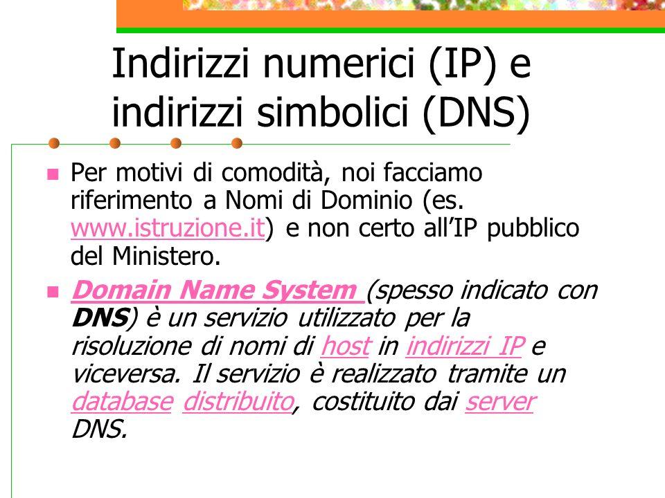 Indirizzi numerici (IP) e indirizzi simbolici (DNS)