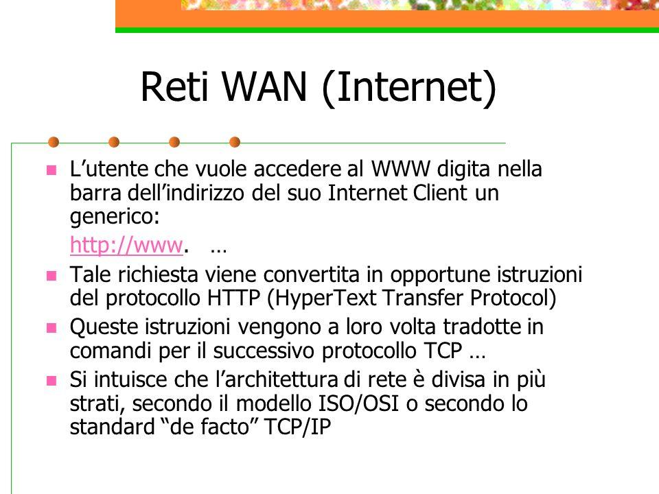 Reti WAN (Internet) L'utente che vuole accedere al WWW digita nella barra dell'indirizzo del suo Internet Client un generico: