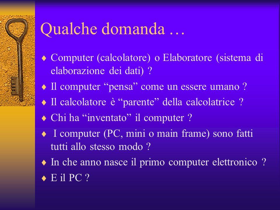 Qualche domanda … Computer (calcolatore) o Elaboratore (sistema di elaborazione dei dati) Il computer pensa come un essere umano
